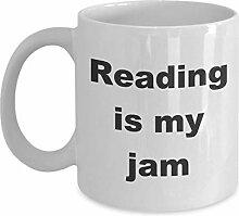 Book Lover Mug,Reading is my jam-White Coffee Mug