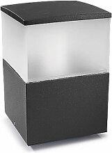 Borne Cubik, aluminium et polycarbonate, gris