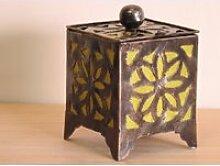 Bougeoir lampion carré olive 15cm 50005
