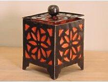 Bougeoir lampion carré orange 15cm 50004