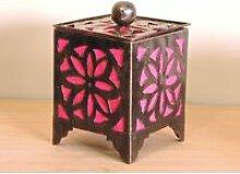Bougeoir lampion carré rose 15cm 50003