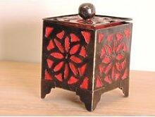 Bougeoir lampion carré rouge 15cm 50002