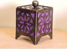Bougeoir lampion carré violet 15cm 50006