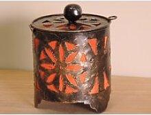 Bougeoir lampion rond orange 15cm 50010