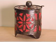 Bougeoir lampion rond rouge 15cm 50008