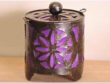 Bougeoir lampion rond violet 15cm 50012