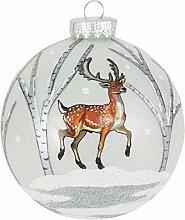 Boule de 10 cm avec décoration hivernale, verre
