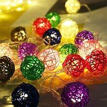 Boule de rotin LED Lumières Rideau Fée Lumière