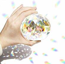 Boule en cristal transparent à facettes pour