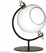 Boule en verre ouverte avec support en métal - 8