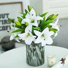 Bouquet de fausses fleurs de lys blanc, 6