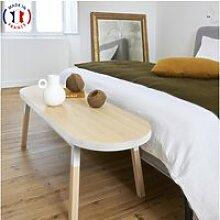 Bout de lit banc en frêne massif 140x45 cm blanc