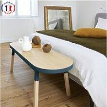 Bout de lit banc en frêne massif 140x45 cm bleu