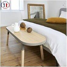 Bout de lit banc en frêne massif 140x45 cm gris