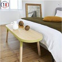 Bout de lit banc en frêne massif 140x45 cm jaune