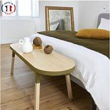 Bout de lit banc en frêne massif 140x45 cm tabac