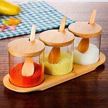 Bouteille d'épices de ricin en verre,