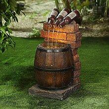 Bouteille de vin en résine et fontaine