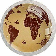 Bouton de Tiroir Carte du monde boussole brune