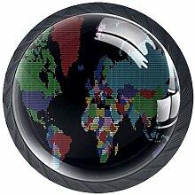 Bouton de Tiroir Carte du monde couleur Bouton de
