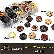 Boutons 100pcs / lot boutons en bois pour tissu