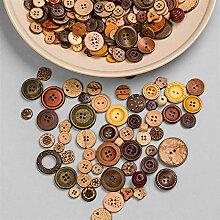 Boutons 100pcs mélangés de boutons en bois de