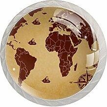 Boutons de Meuble Carte du monde boussole brune