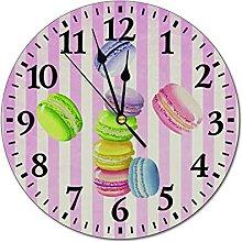 BPDD Horloge Murale Macarons Pâtisserie