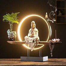Brûleur d'encens à reflux avec lumière Led,