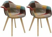 Bradu - lot de 2 fauteuils patchwork motif vintage