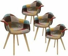 Bradu - lot de 4 fauteuils patchwork motif vintage