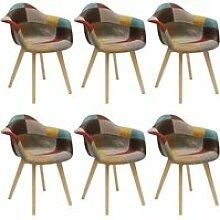 Bradu - lot de 6 fauteuils patchwork motif vintage