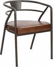 BRASSERIE - Chaise confort aspect cuir marron