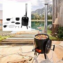 BRAST Barbecue Charbon de Bois Portable émaillée