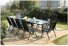 Brescia 10 : ensemble de jardin en aluminium table