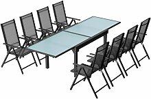 Brescia 8 : Ensemble de jardin en aluminium table