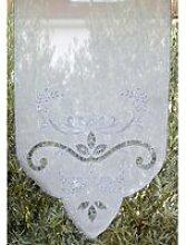 Brise-bise 44x120 transparent blanc macramé