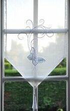 Brise-bise 45x60 transparent blanc papillon