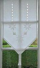 Brise-Bise brodé Géométrique - Blanc 60x60cm