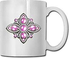 Broche en argent avec perles roses tasse à café
