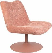 BUBBA - Fauteuil lounge en velours Rose