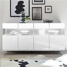 Buffet 180 cm avec LED design blanc laqué ROSINI 2