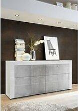 Buffet 4 portes - blanc laque brillant + facade