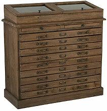 Buffet 7 tiroirs avec vitrine en bois recyclé
