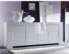 Buffet bahut blanc laqué 4 portes design