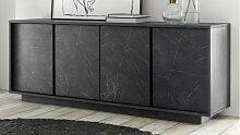 Buffet bahut décor marbre noir 4 portes - Ercole