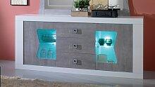 Buffet bahut laqué blanc et béton LED 2 portes +