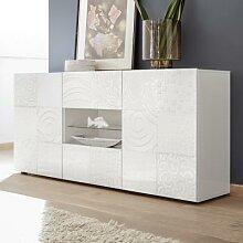 Buffet blanc laqué 180 cm design ELMA, sans