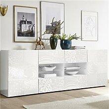 Buffet blanc laqué 240 cm design ELMA avec