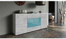 Buffet blanc mat et façade laquée  turquoise et